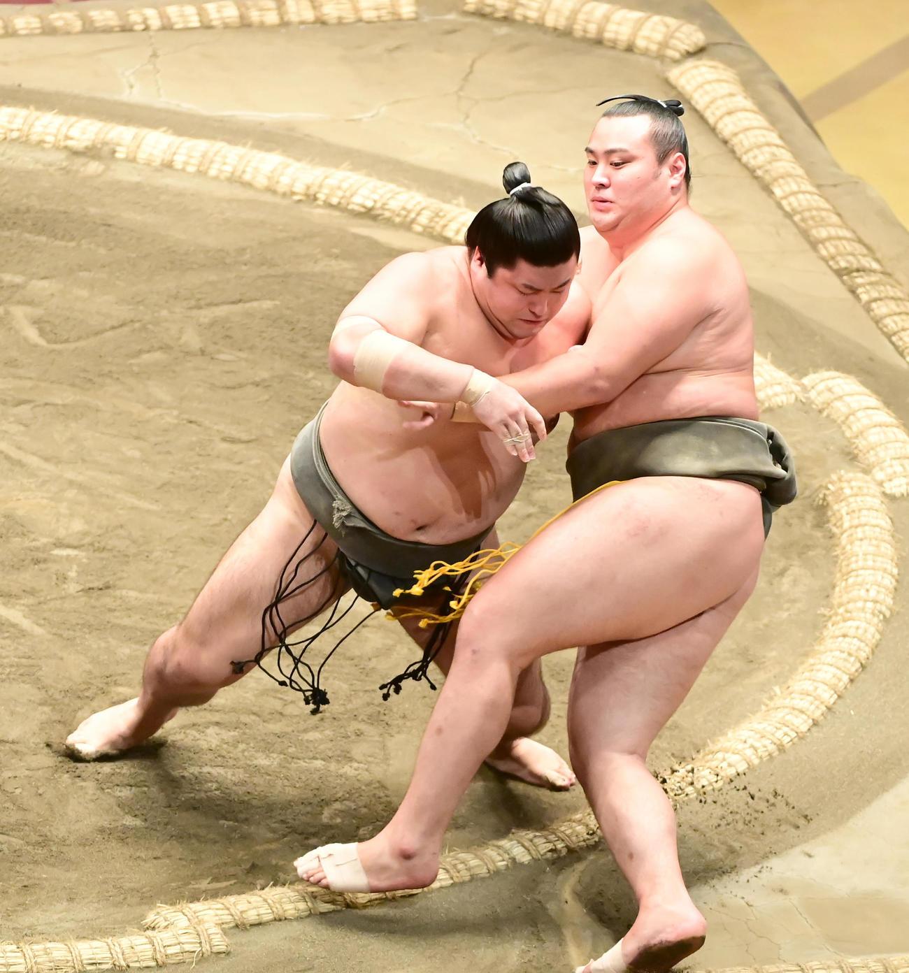 大相撲秋場所13日目、深井(左)は北の若を寄り切りで破り幕下優勝を決める