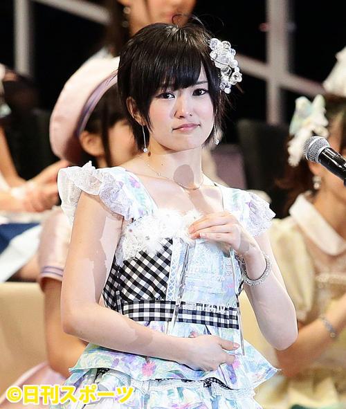 第5回AKB48選抜総選挙開票イベント 14位で選抜入りし泣きそうな表情に(2013年6月8日撮影)