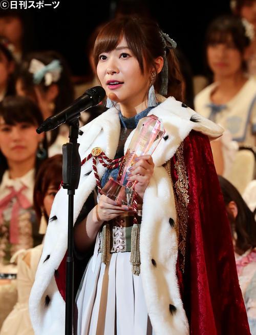 2017年6月17日 3連覇を達成し、スピーチをする指原莉乃(24万6376票)