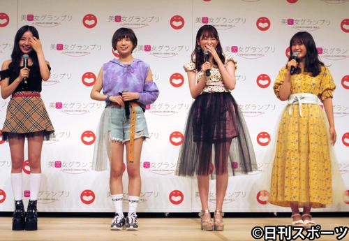 「美笑女グランプリ」開催会見に登場したNMB48のユニット「Queentet」。左から村瀬紗英、太田夢莉、吉田朱里、渋谷凪咲(撮影・星名希実)