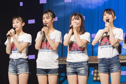 「NMB48 LIVE TOUR 2019~NAMBA祭~」で正規メンバーに昇格することが発表された、右から新沢菜央、堀ノ内百香、大田莉央奈、南羽諒 (C)NMB48