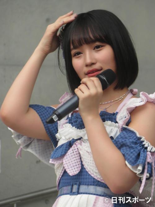 初センター曲となった新曲「サステナブル」発売記念イベントに出席した矢作萌夏(2019年9月21日撮影)