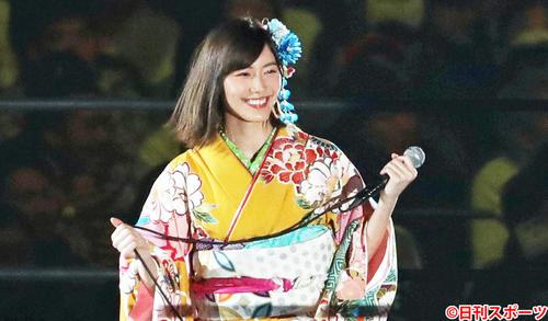 着物姿で登場したスペシャルアンバサダーのSKE48松井珠理奈(2018年1月4日撮影)