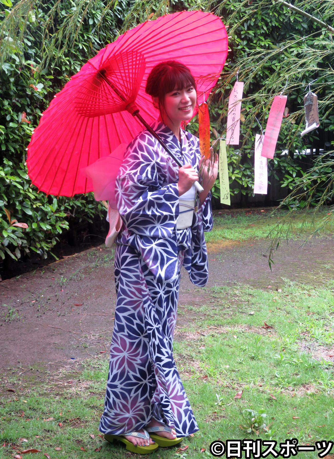 新番組高視聴率祈願取材会に浴衣姿で出席した山内鈴蘭(撮影・川田和博)