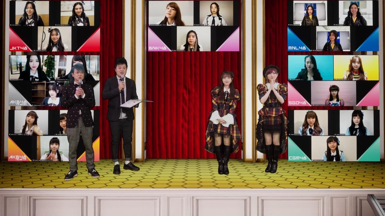 「AKB48 Group Asia Festival 2021 ONLINE」開催会見を行ったAKB48向井地美音(右から2人目)と岡田奈々(右端)。左は司会のバッドボーイズ