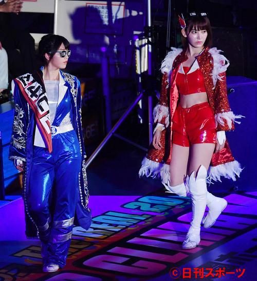 AKB48「豆腐プロレス The REAL 2017 WIP CLIMAX」 スペシャルドリームタッグマッチ 横山由依(左)(2017年8月撮影)