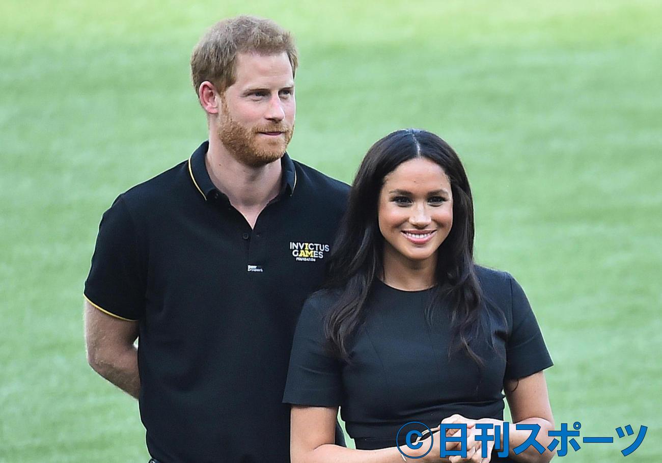 ヘンリー王子とメーガン妃(2019年6月29日撮影)