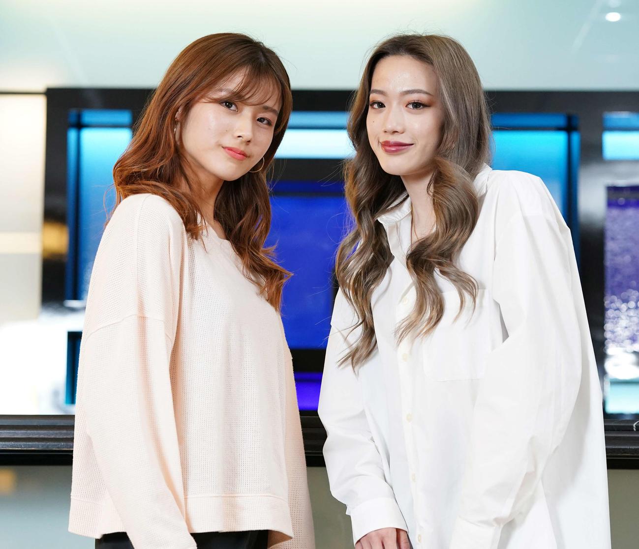 対談を行ったKOSE 8ROCKSのNao(左)とUSEN-NEXT I'moonのHina(撮影・鈴木みどり)
