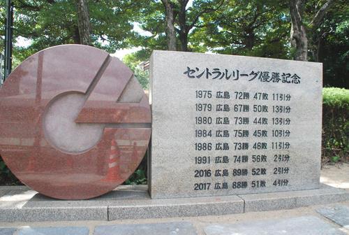 広島V記念碑スペース埋まり、広...