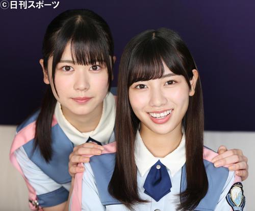 日向坂46丹生明里(左)と河田陽菜はとても仲良し(撮影・中島郁夫)