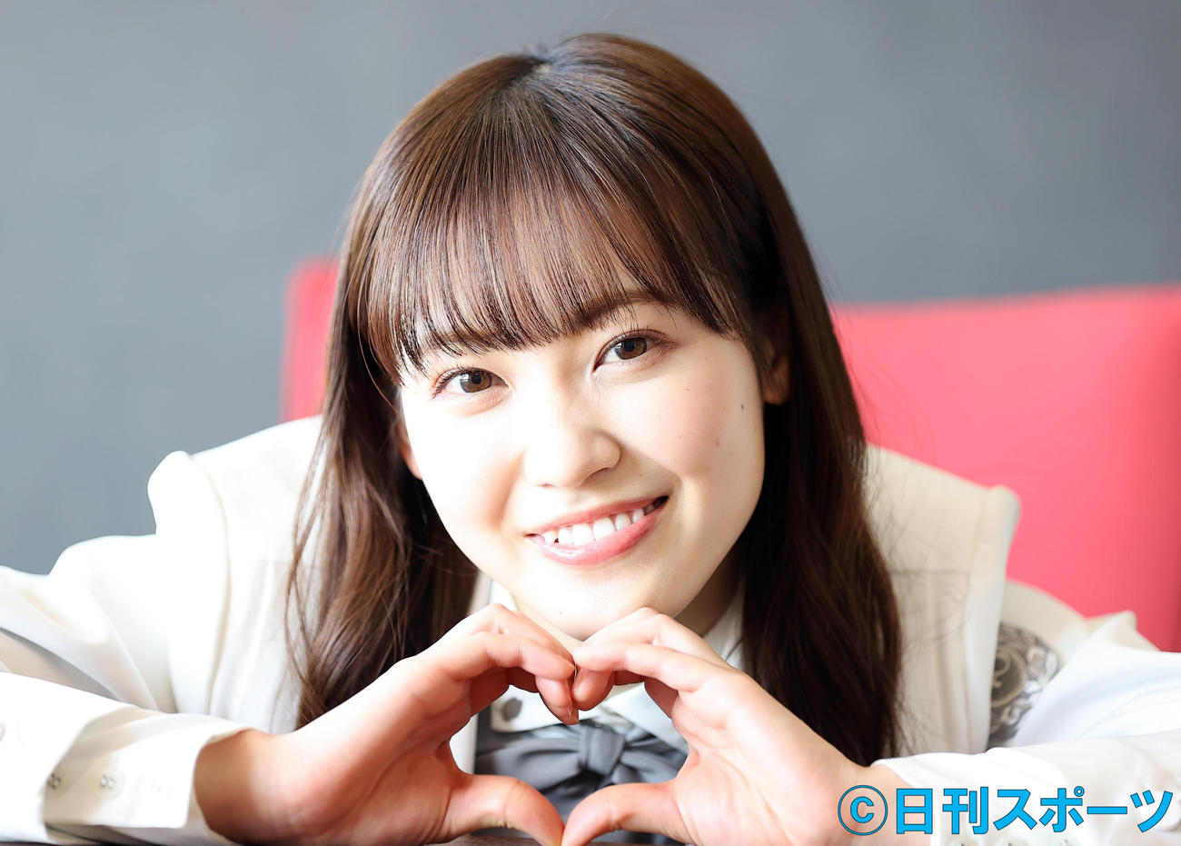 櫻坂46の副キャプテンとして意気込み新たに笑顔を見せる松田里奈(撮影・浅見桂子)