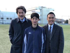 「陸王」に出演する、左から役所広司、菅谷哲也、市川右團次(C)TBS