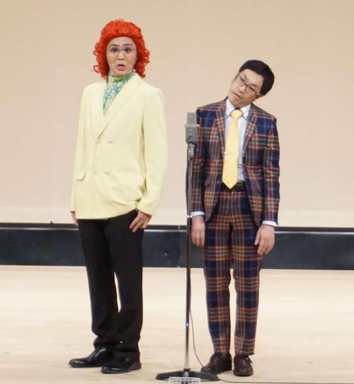 おはこのドラゴンボール野沢雅子のものまねで笑わせたアイデンティティの田島(左)と見浦