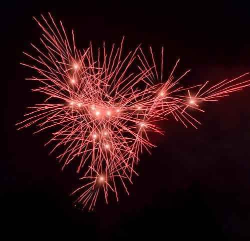 神宮花火大会で打ち上がる色とりどりな花火(撮影・高橋美空)
