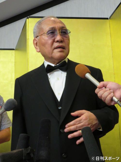 チャリティーパーティーに出席した日本ボクシング連盟の山根明前会長(撮影・小林千穂)