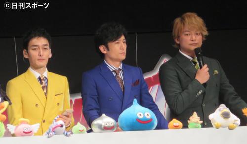 イベントに出席した、左から草なぎ剛、稲垣吾郎、香取慎吾