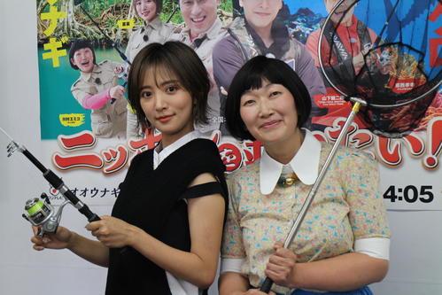 フジテレビ系「ニッポンを釣りたい」の発表会見に出席した夏菜(左)と川村エミコ