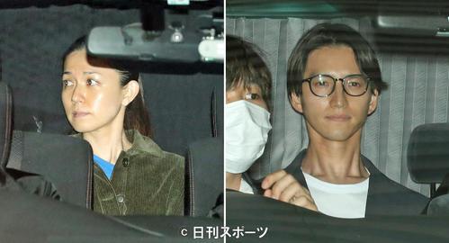 5月22日、警視庁湾岸警察署に移送される小嶺麗奈被告と麻薬取締部を出る元KAT-TUNの田口淳之介被告