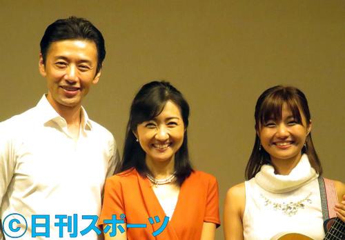 左から大浦龍宇一、ゆりえの母で元フジテレビアナウンサーの寺田理恵子、ゆりえ