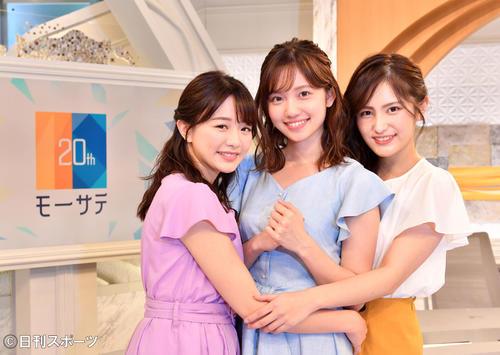 Newsモーニングサテライトで地上波デビューを飾る、左からテレビ東京新人アナウンサーの森香澄、田中瞳、池谷実悠