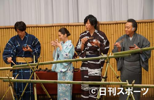 「刑事7人」の出演者。左から白洲迅、倉科カナ、田辺誠一、北大路欣也
