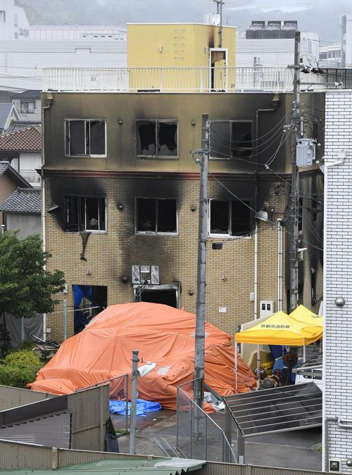 放火火災で多数の従業員らが犠牲となった「京都アニメーション」のスタジオ(共同)