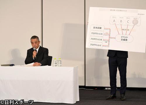 ボードを使い経緯を説明する吉本興業の岡本昭彦社長(撮影・横山健太)