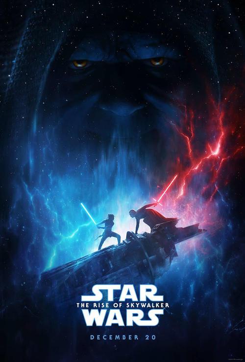 発表された「スター・ウォーズ」完結編のポスター。ヒロインのレイ(左)とカイロ・レンの対決の背景に暗黒卿パルパティーンの影が。