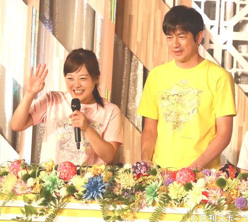 「24時間テレビ」司会の水卜麻美アナウンサー(左)と羽鳥慎一アナウンサー