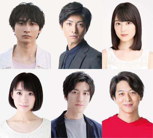 「四月は君の嘘」に出演する6人。上列左から小関裕太、木村達成、生田絵梨花、下列左か唯月ふうか、水田航生、寺西拓人