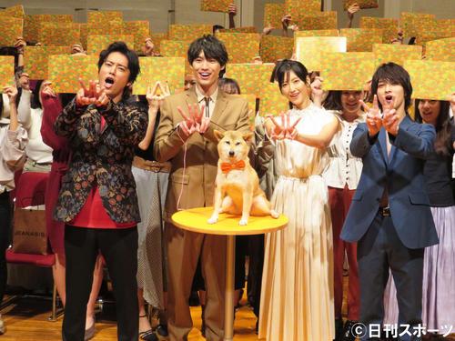 TBS系ドラマ「4分間のマリーゴールド」のキャスト舞台あいさつに登場した、左から桐谷健太、福士蒼汰、菜々緒、横浜流星