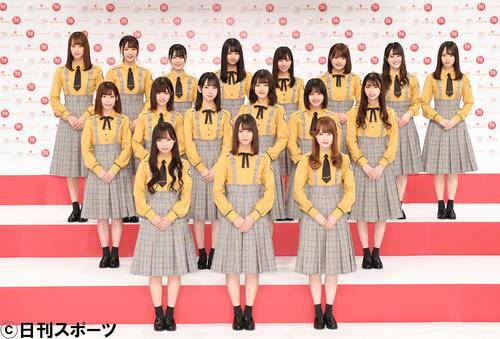 第70回NHK紅白歌合戦の発表会見で撮影に応じる日向坂46(撮影・加藤諒)