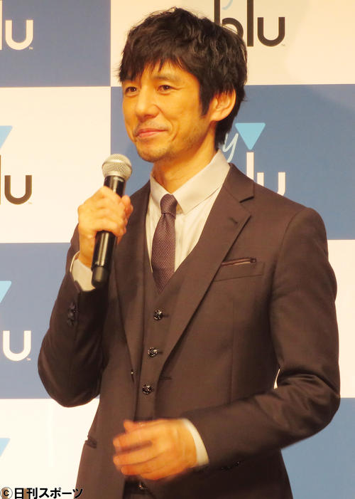 電子たばこ「myblu」新CM発表会で話す西島秀俊(撮影・佐藤成)