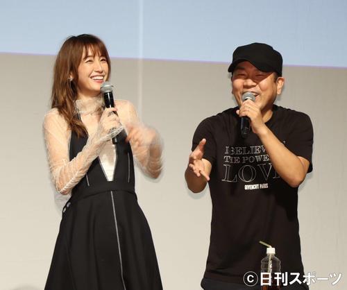 木下優樹菜(左)とFUJIWARA藤本敏史(2018年6月2日撮影)