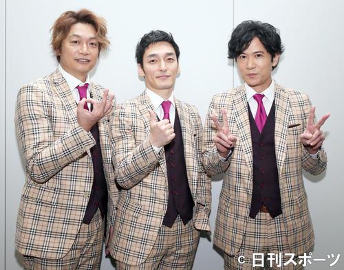 左から「新しい地図」の香取慎吾、草なぎ剛、稲垣吾郎(2019年3月6日撮影)
