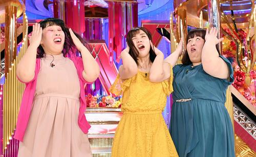 女芸人NO・1決定戦 THE W 2019で優勝した3時のヒロインは「アッハーン」を披露する。左からゆめっち、福田麻貴、かなで(撮影・滝沢徹郎)