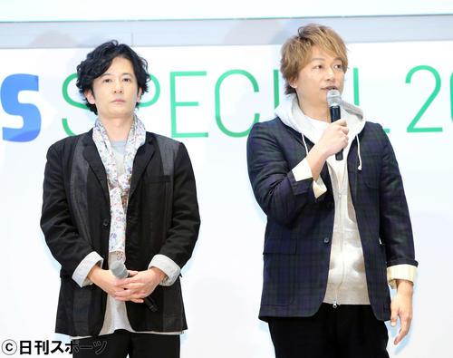 パラリンピックについて語る香取慎吾(右)と稲垣吾郎(撮影・鈴木正人)
