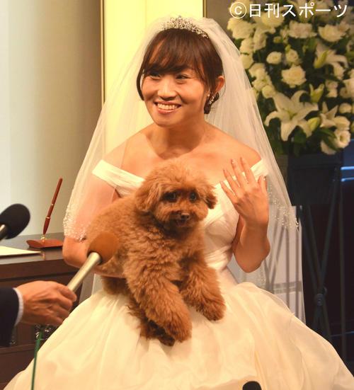 結婚披露宴、式前会見 愛犬のミニちゃんを抱え、結婚披露宴の囲み取材を受けるお笑いタレントのキンタロー。=2016年11月25日