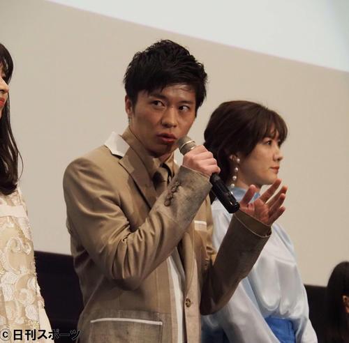 映画「mellow」初日舞台あいさつに出席した田中圭(撮影・遠藤尚子)