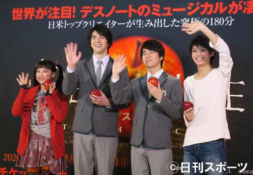 「デスノートTHE MUSICAL」の意気込みを語る出演者たち。左から、吉柳咲良、甲斐翔真、村井良大、高橋颯