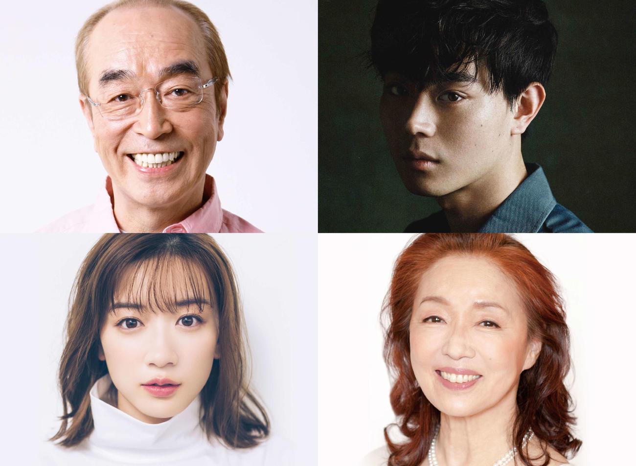 映画「キネマの神様」に出演する、上段左から時計回りに志村けん、菅田将暉、宮本信子、永野芽郁