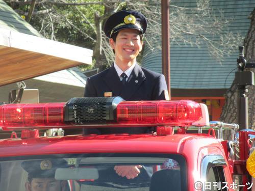 大阪・住吉大社で1日消防署長を務めた松下洸平(撮影・星名希実)