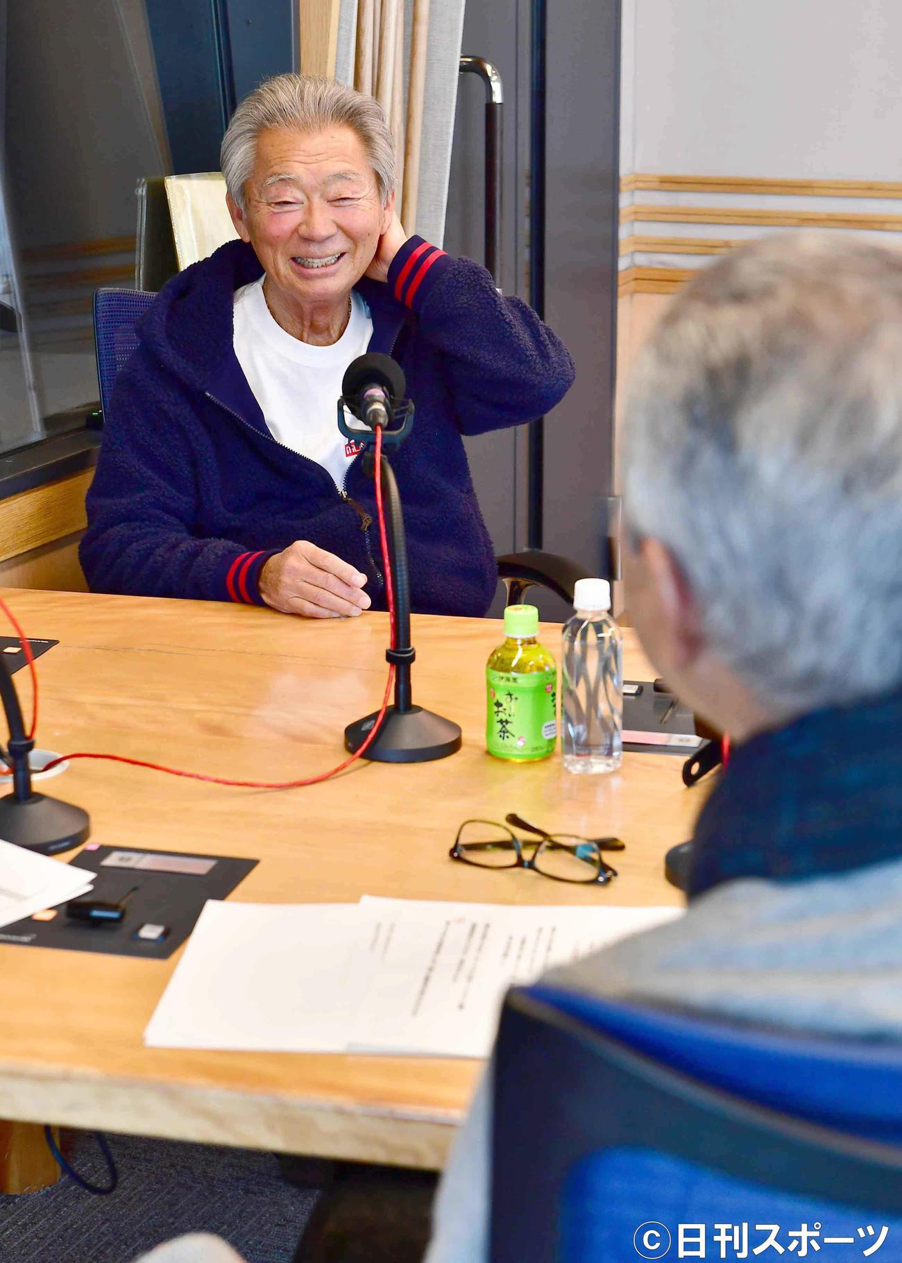 文化放送「大竹まこと ゴールデンラジオ」に生出演した、みのもんた(撮影・小沢裕)