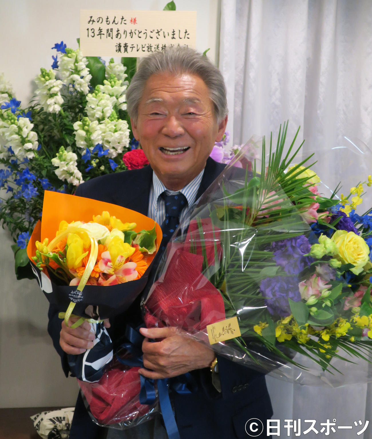 MCとして日本テレビ系「秘密のケンミンSHOW」の最後の収録を終え、笑顔を見せるみのもんた