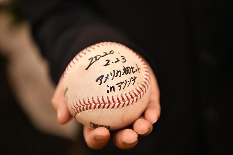 松島アナの葬儀にレッズ秋山から贈られた米大リーグオープン戦初安打の記念球(文化放送提供)