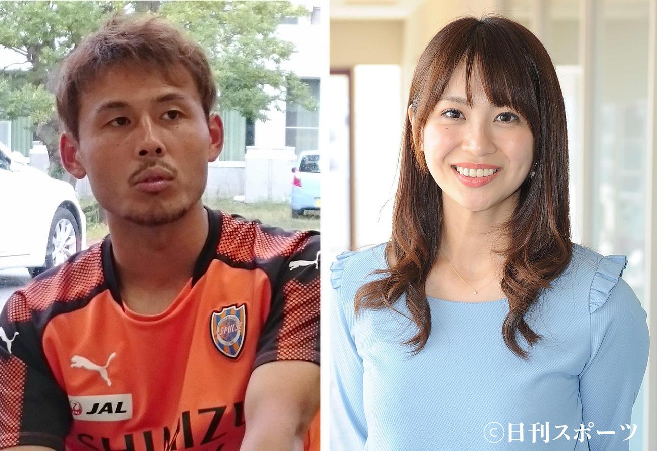 清水MF河井陽介(左)と静岡朝日テレビ広瀬麻知子アナウンサー