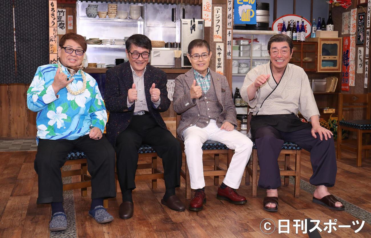 左から高木ブー、仲本工事、加藤茶、志村けん(2017年3月4日撮影)