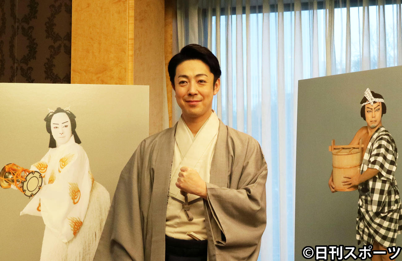 「通し狂言 義経千本桜」の取材会に出席した尾上菊之助(2020年2月14日撮影)
