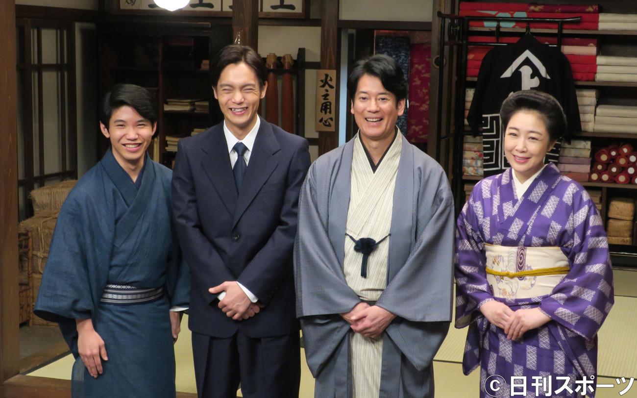 NHK連続テレビ小説「エール」に出演する、左から佐久本宝、窪田正孝、唐沢寿明、菊池桃子
