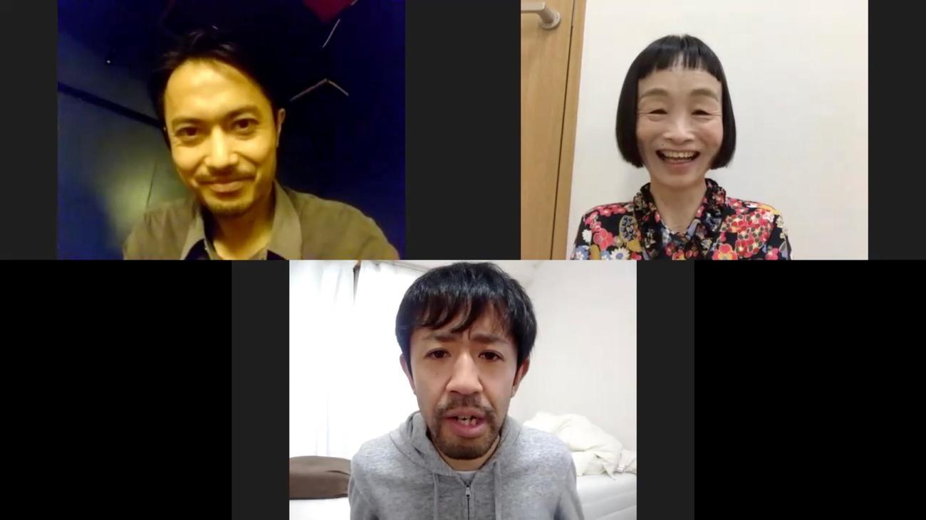 「カメラを止めるな! リモート大作戦!」に出演した、上段左から大沢真一郎、どんぐり、下段は濱津隆之(C)カメラを止めるな!リモート大作戦!